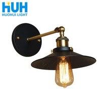 Винтажная настенная лампа с железной пластиной, черный промышленный светильник Эдисона диаметром 22 см, для столовой, кабинета, спальни, ретро, американский Железный настенный светильник