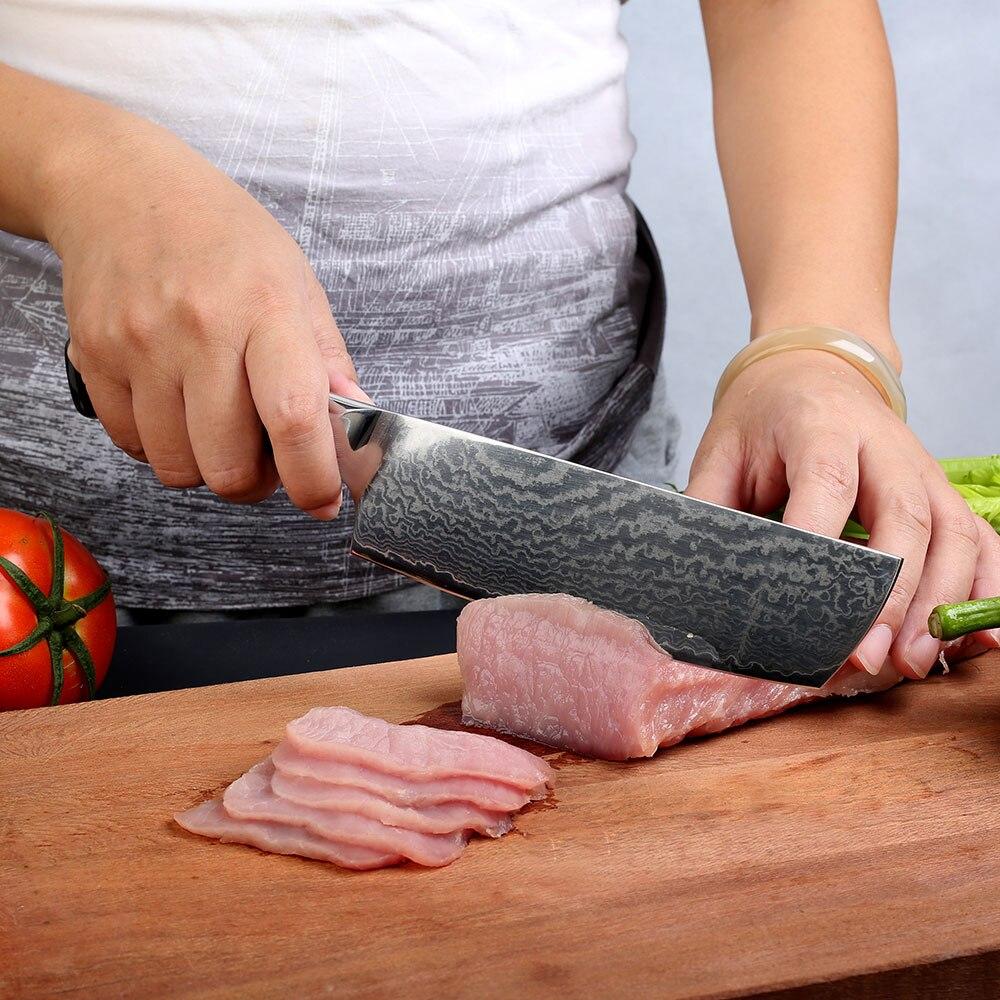 """Ev ve Bahçe'ten Mutfak Bıçakları'de SUNNECKO Profesyonel 7 """"Nakiri Cleaver Bıçak Şam Japon VG10 Çelik Bıçak Mutfak Bıçakları G10 Kolu Et Sebze Kesici'da  Grup 2"""