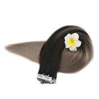 Полный блеск черный цвет волос реального Remy натуральные волосы 40 шт. клейкие ленты на наращивания Perucas де Cabelo Humano клейкие ленты в наращивани
