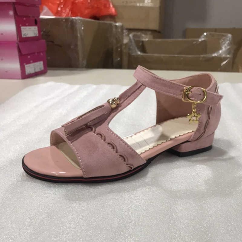 KARINLUNA marka tasarım artı boyutu 28-52 Fringe bayanlar düşük topuk sandalet kadın 2019 ayakkabı kadın rahat parti ofis yaz sandalet