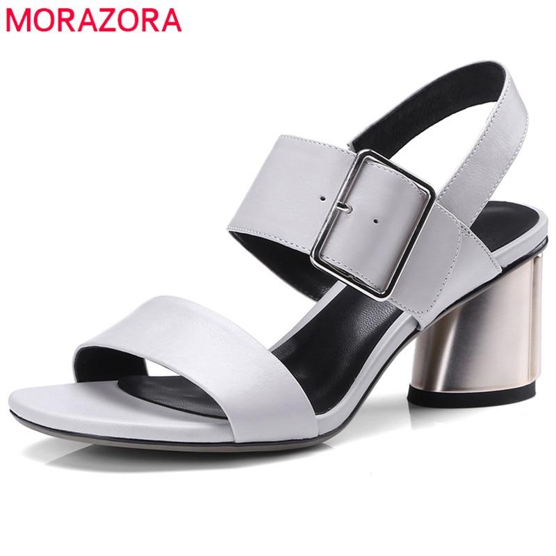 MORAZORA 2018 new arrive women sandals big size 34-42 summer shoes simple buckle genuine leather comfortable square heel shoes цена