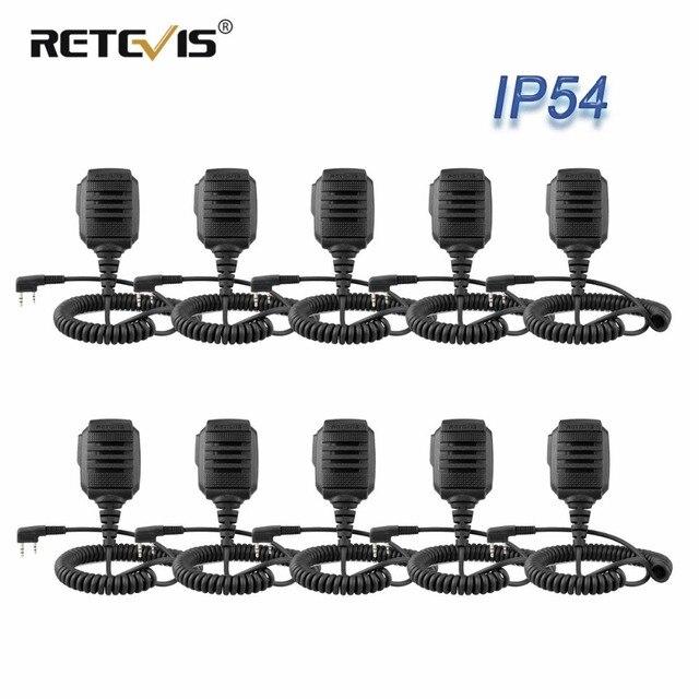 10 шт., оптовая продажа, водонепроницаемый микрофон IP54 для Kenwood RETEVIS H777 RT3 RT3S RT22 Baofeng, рация с функцией «раций» и «уоки токи», для моделей Kenwood RETEVIS H777, RT3, RT3S, RT22, Baofeng
