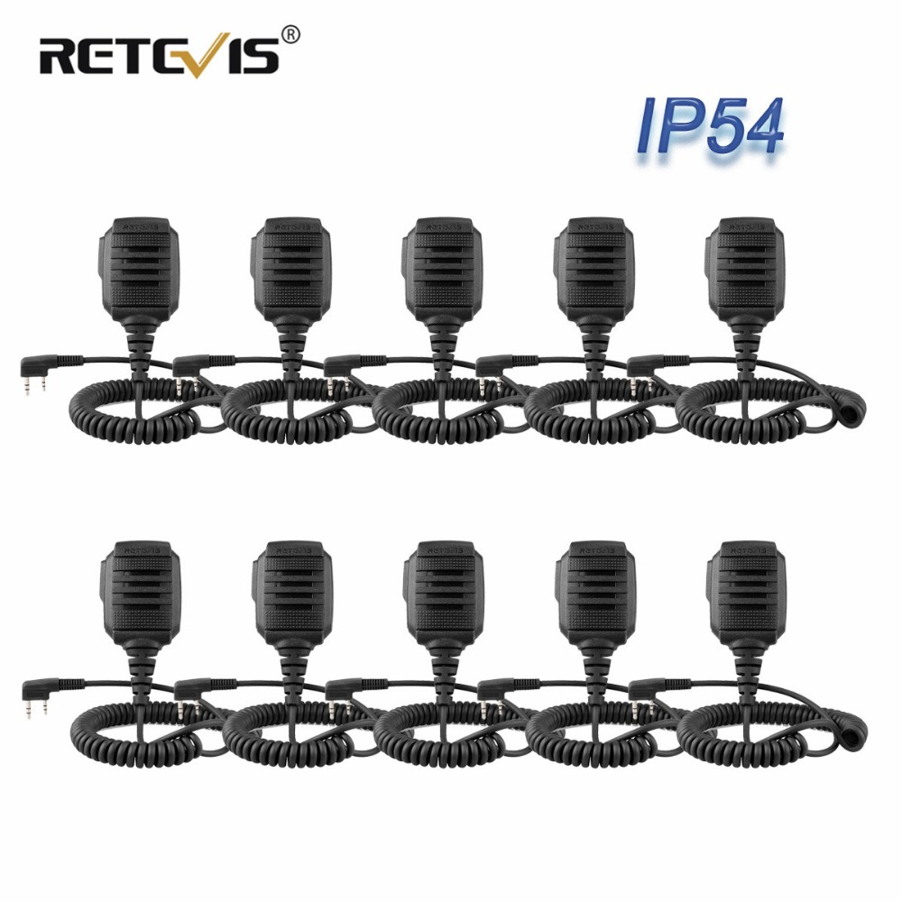 10 Pcs Wholesale RS-114 IP54 Waterproof Speaker Microphone For Kenwood RETEVIS H777 RT3 RT22 RT81 Baofeng UV-5R Walkie Talkie