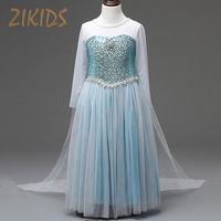 Girl Summer Dress Anna Elsa Cosplay Costume Princess Cloak Party Festival Dresses Snow Queen Crystal Kids