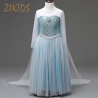 Girl Summer Dress Anna Elsa Cosplay Costume Princess Cloak Party Festival Dresses Snow Queen Crystal Kids