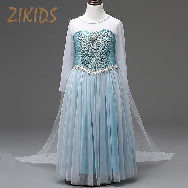 Bebê Vestido Da Menina Elsa Anna Cosplay Costume Party Festival Vestidos de Princesa com Manto de Neve Rainha Cristal Roupa Dos Miúdos 2016 Nova