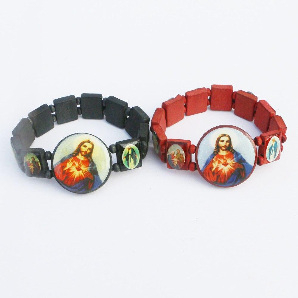 2pcs New Christian Prayer Wooden Charming Saints Religion Bracelet Rosary Wooden Elestic Bangle Jewelry For Women Men Gift