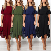цена на Summer Dress Women  Irregular Hem Beach  Dress Pure Color Slim Party Sundress O-Neck Midi Calf