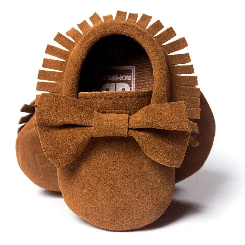 Nubuck Leather Newborn Shoes Suede Fringe Brown Bow Baby First Walkers Infant Prewalker