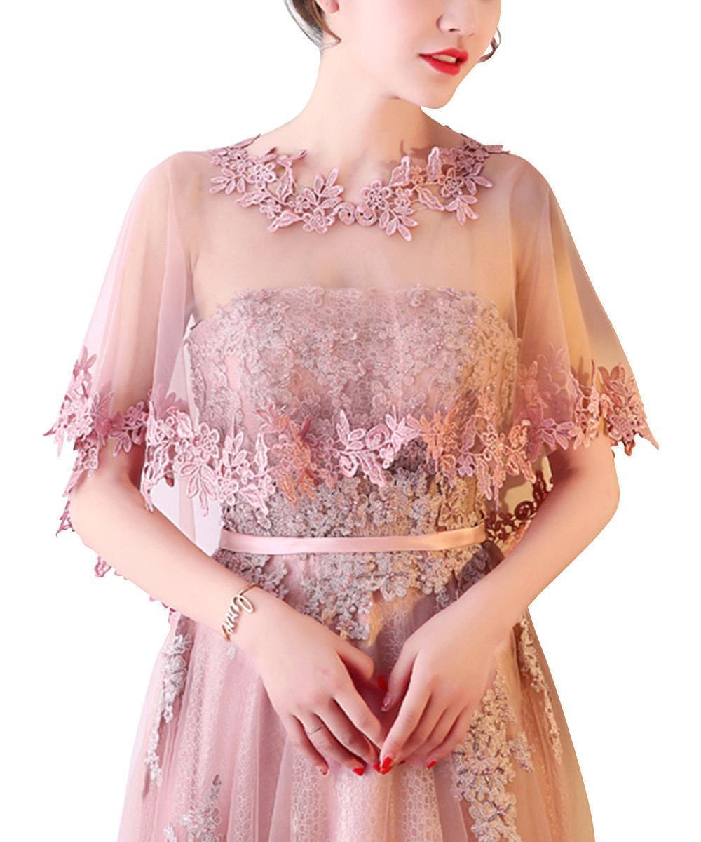 Купить с кэшбэком Fashion Women Lace Applique Bridal Wedding Bolero Shrug Shawl Wrap Cape Stole Wedding Accessories In Stock