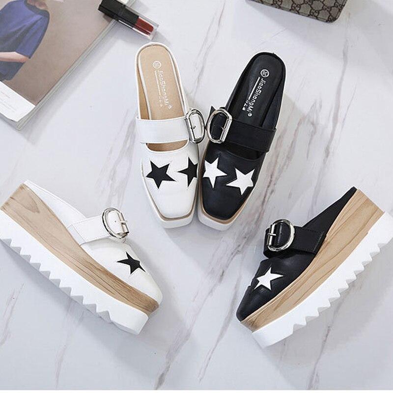 Blanc Noir 2018 Mules Femme Chaussures Pantoufles White Plate Majer Mode Mocassins Diapositives Plates Confortables forme Sandales black Boucle Zapatos xpqqnwa