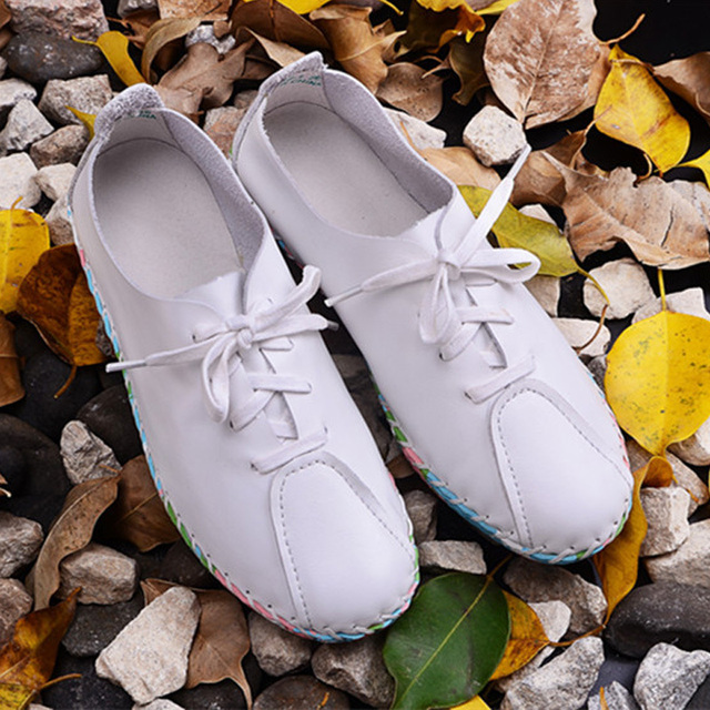 Women White Pink Flat Shoes Hand sewed Genuine Leather Lace up Flats Colorful Rubber Sole Ladies Spring/Autumn Footwear(x1306-1)