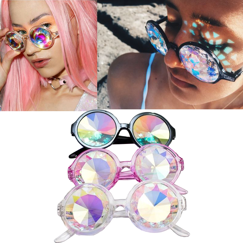 2016 Fashion Retro Round Kaleidoscope font b Sunglasses b font Men Women Designer Eyewear Kaleidoscope lens