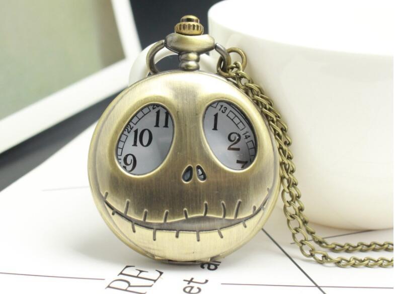 Yisuya Corpse Bride Schädel Quarz Taschenuhr Antike Bronze Steampunk Halskette Uhr Für Männer Frauen Geschenk Tasche & Fob Uhren