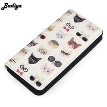 Купить с кэшбэком Badiya Cat Print Cartoon Women Wallets Long Large Capacity Ladies Clutch Phone Pocket PU Leather Women's Card Holder Cash Purse
