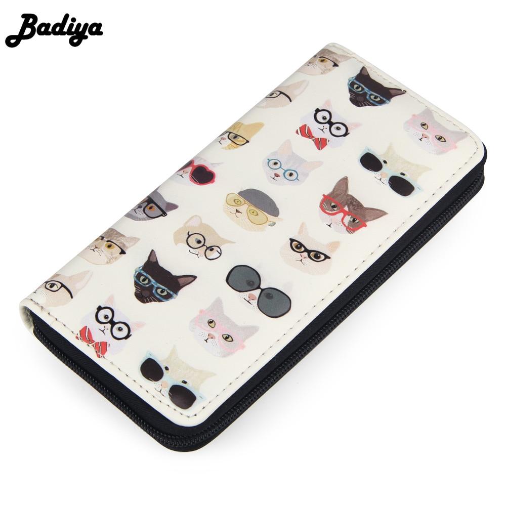 Badiya Cat Print Cartoon Women Wallets Long Large Capacity Ladies Clutch Phone Pocket PU Leather Women's Card Holder Cash Purse