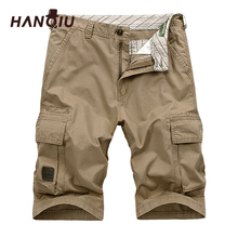HANQIU 2019 Summer Men Cargo Shorts Straight Loose Fashion Cotton Mens Army Mili