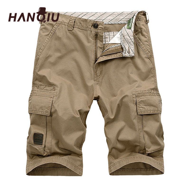 HANQIU 2020 Summer Men Cargo Shorts Straight Loose Fashion Cotton Mens Army Military Short Pants Plus Size 44