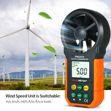 Handheld Anemometer Portable Wind Speed Meter CFM Meter Wind Gauges Air Flow Thermometer with LCD Backlight for Weather Data Collection holdpeak hp 856a digital wind speed air volume meter anemometer usb handheld with data logger and carry case