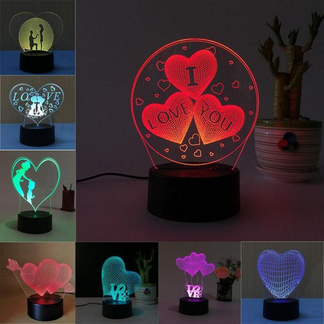 Superb 3D Heart Shape Lamp Multicolor LED Lights Touch USB Remote Control Night  Light Table Lamp Valentineu0027s Pictures Gallery