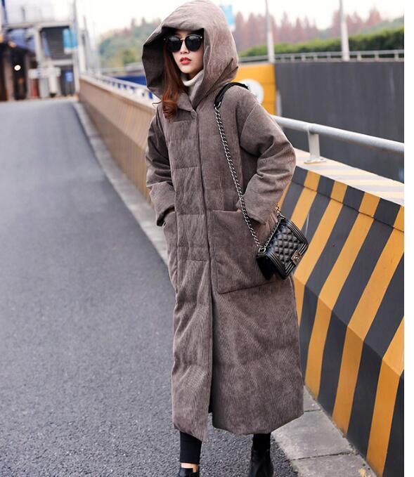 Large pockets Women Winter Hooded   Down     Coat   Long Warm Duck   Down     Coat   Women Long Winter   Coat