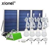 Xionel фабричная оптовая продажа перезаряжаемая Солнечная система Комплект 4 лампы Multi function Домашнее использование Солнечная система с USB заря