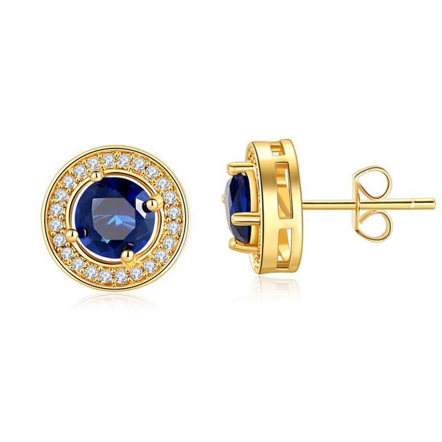 新しいファッションスタッドピアス高品質の水晶金のイヤリングウェディングパーティー誕生日ギフトファインジュエリー
