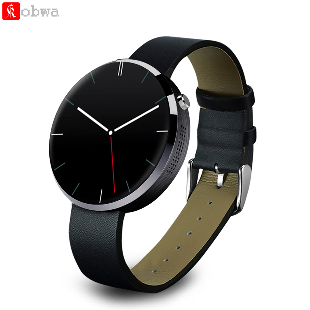 DM360 Smart Watch Bluetooth Smartwatch Heart Rate Monitor Leather Band Wristwatch Round Dial for iPhone iOS Android Smartphone