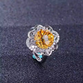 Natural Fireworks citrine Ring Natural yellow crystal ring 925 sterling silver trendy Elegant Sunflower women party gift Jewelry
