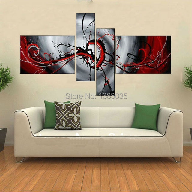 Hand Painted Abstract White Red Black Oil Painting On Canvas 4 Panel Modern Wall Art Sets Home Decor Pictures