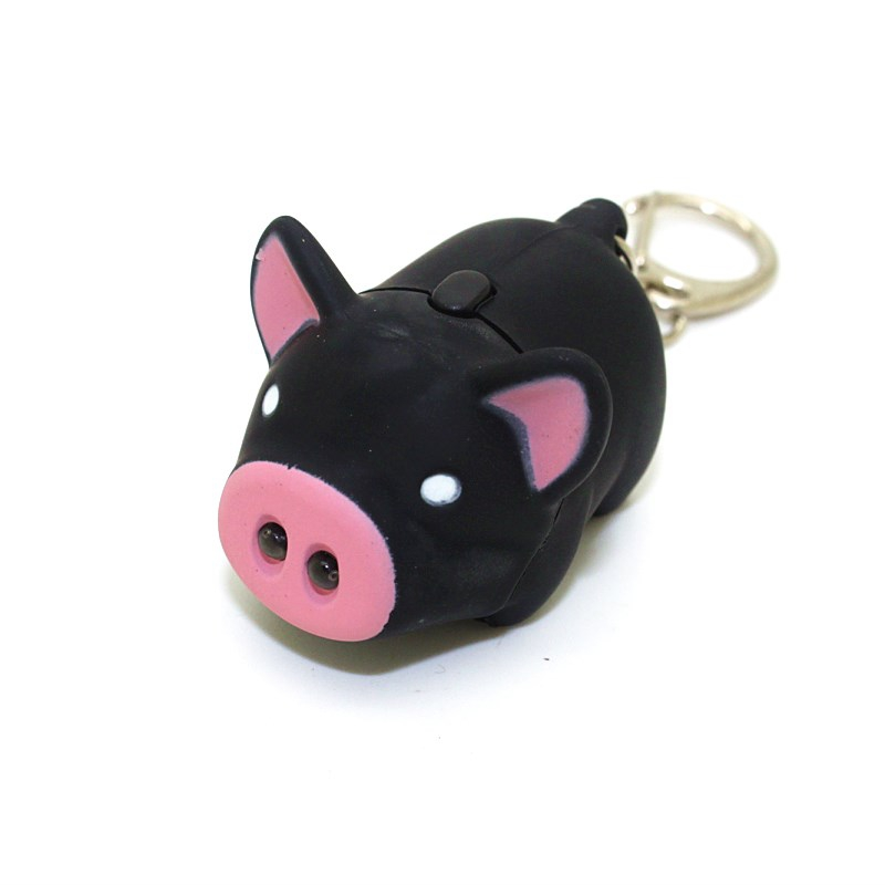 Cartoon Animal Novelty Toys with Sound Lovely Cute Mini Black Pig Toy Pendant with Light ...