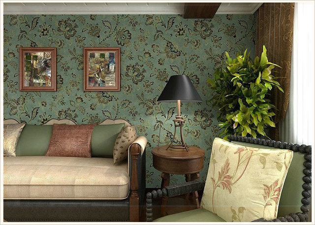 Pvc Country Style Vintage Dark Green Background Wall Flower Wallpaper For Living Room Fl Papers