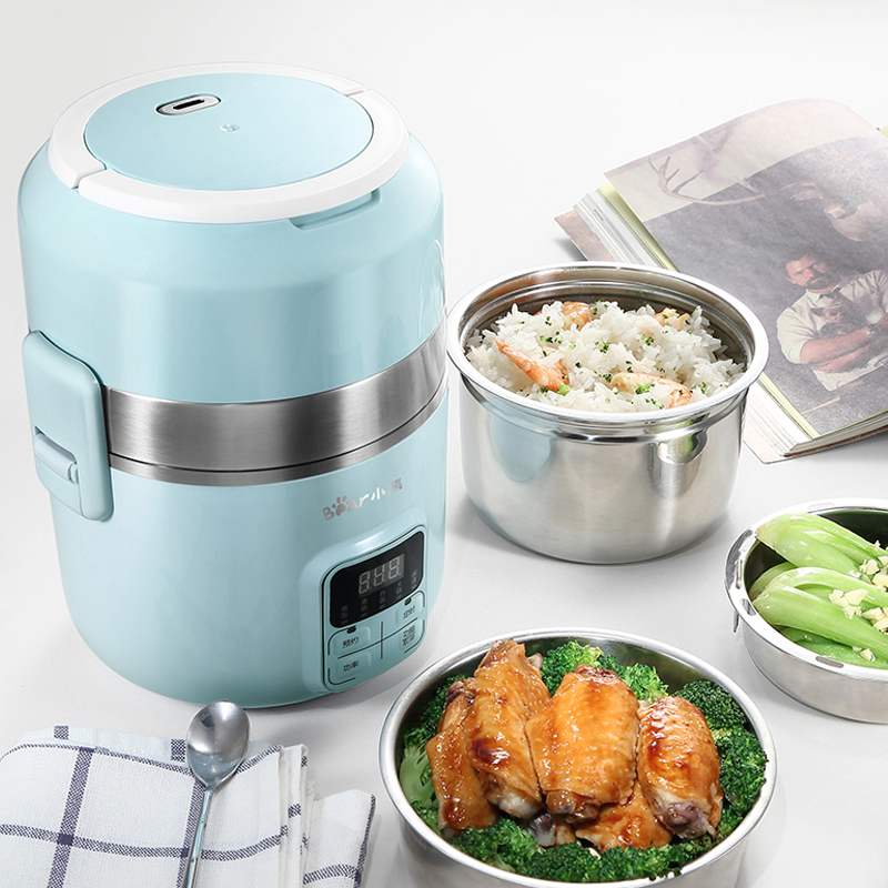 220V Multifunctional 3 Layers 2L Electric Rice Cooker Portable Intelligent Electric Heating Lunch Box For Travel School 3 layer rice cooker 2l electric heating lunch box stainless steel liner portable steamer food container thermal box 200w 220v