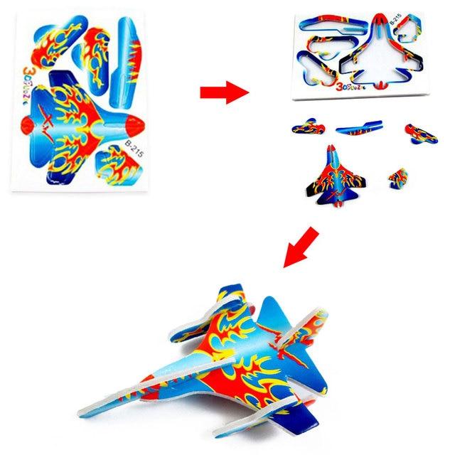 10pcs Montessori 3D Aircraft Models Cardboard Jigsaw Airplane Model Building Kids Toys for Children Funny DIY Toys Random Color 5