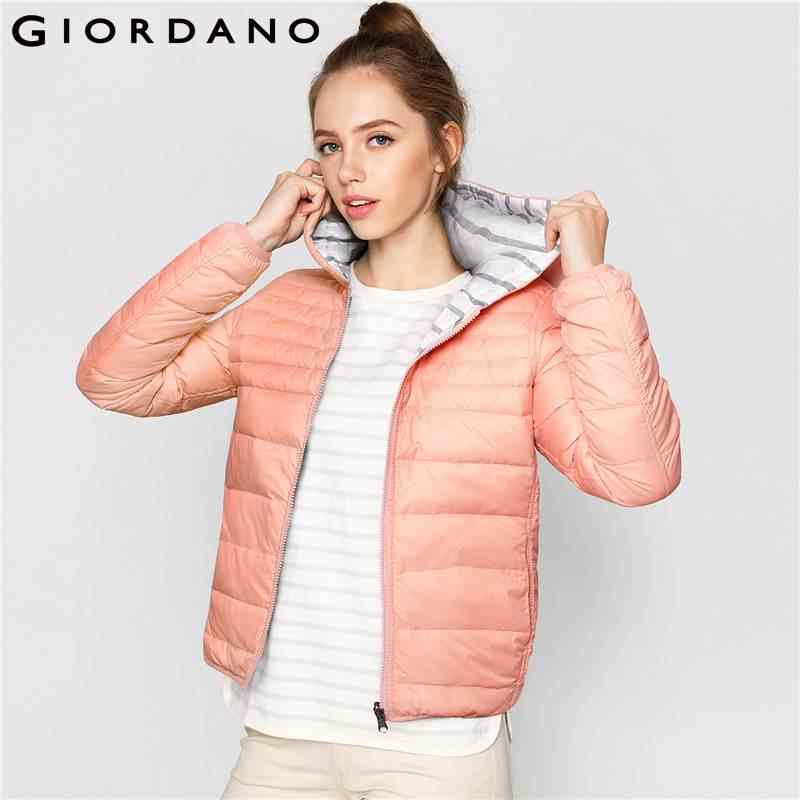 63d3ef168 Giordano Women Down Jacket Reversible hooded Long Sleeve Slim Fit 2017  Woman Warm Fashion Clothing Femme Outwear