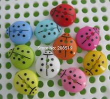 NBNLLV 2 holes Black dots Ladybug plastic buttons for scrapbook Mix 200pcs 12mm*13mm Decorative sewing LADYBIRD