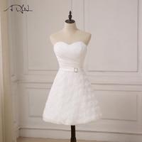 ADLN 2017 Corto de Novia Vestidos de Novia Longitud de La Rodilla Del A-line Del Cordón Del Vestido Blanco Vestido De Noiva Robe De Mariee