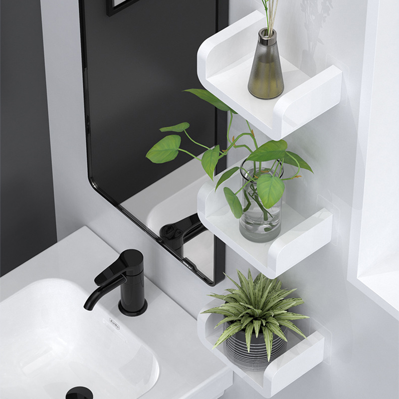 ><font><b>White</b></font> Home Storage Holder Waterproof Cosmetic Shelves <font><b>Wall</b></font> Hanging Bathroom Shower Shelf Caddy Shower Rack Kitchen Spice Racks