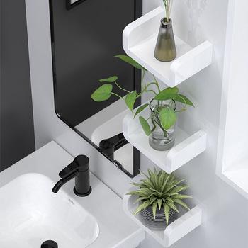 Biały uchwyt do przechowywania w domu wodoodporne kosmetyczne półki na ścianę wiszące łazienka półka po prysznic Caddy półka prysznicowa przyprawa kuchenna stojaki tanie i dobre opinie Jeden poziom Typ ścienny Plastic Rogu Łazienka półki T2018 Z tworzywa sztucznego White Suction wall Kitchen Bathroom Cosmetic