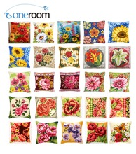 Cross Stitch Pillow Mat DIY Craft Beautiful Flower 01 Tapestry 42CM by Needlework Crocheting Cushion Embroidery