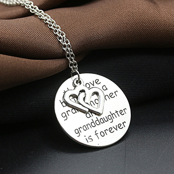 Round Metal Medal Words Love of Grandmother & Grandfather Double Hearts Silver Plated Necklace for Women image