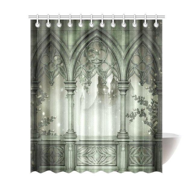Aplysia Palace Balcony Terrace With Fog Scene Fabric Bathroom Decor Shower Curtain Set Hooks