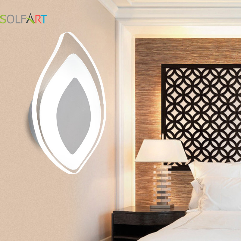 SOLFART sconces wall lamps for home dimming lustre leaf modern simple design metal acrylic led small