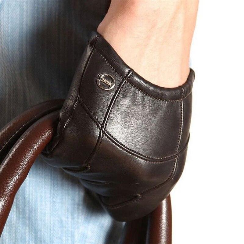 Goatskin offre spéciale Style court hommes gants poignet élastique en cuir véritable mode en peau de mouton gant pour conduite EM004PN-5