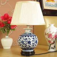 Porcelain Chinese Style Desk Lamp Porcelain Table Lamp Vintage Ceramic Decoration Table Lamp Bedroom Living Room Bedside Lights