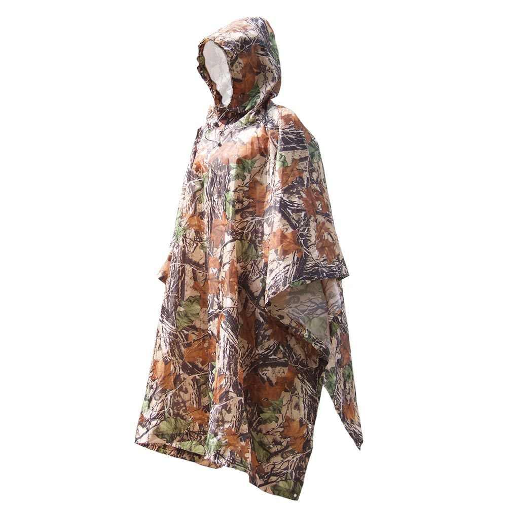 3 em 1 Camuflagem Ferramenta Mochila Capa de Chuva Poncho Capa de Chuva Ao Ar Livre Tenda À Prova D' Água Tapete Toldo Escalada Caça Ciclismo Camping