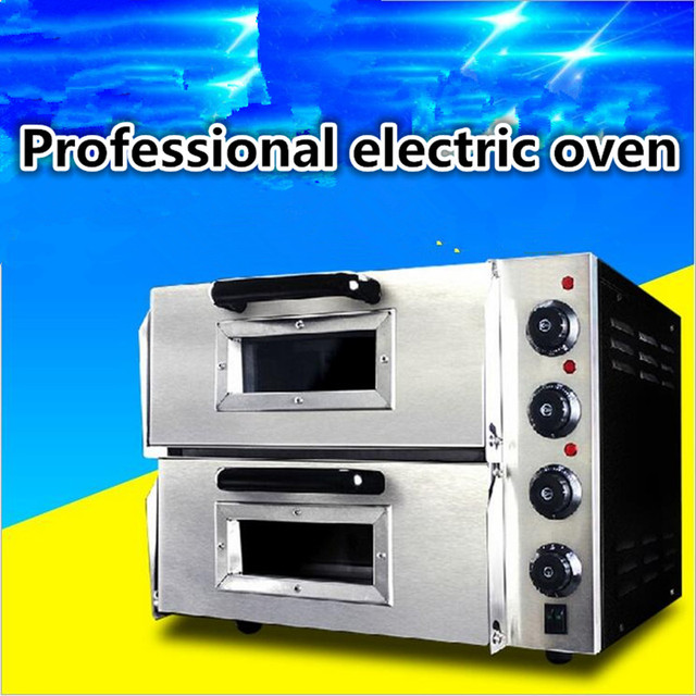 3000W Stainless Steel Commercial Electric Pizza Oven With Timer 2 Layer  Making Bread Pizza Cake Baking