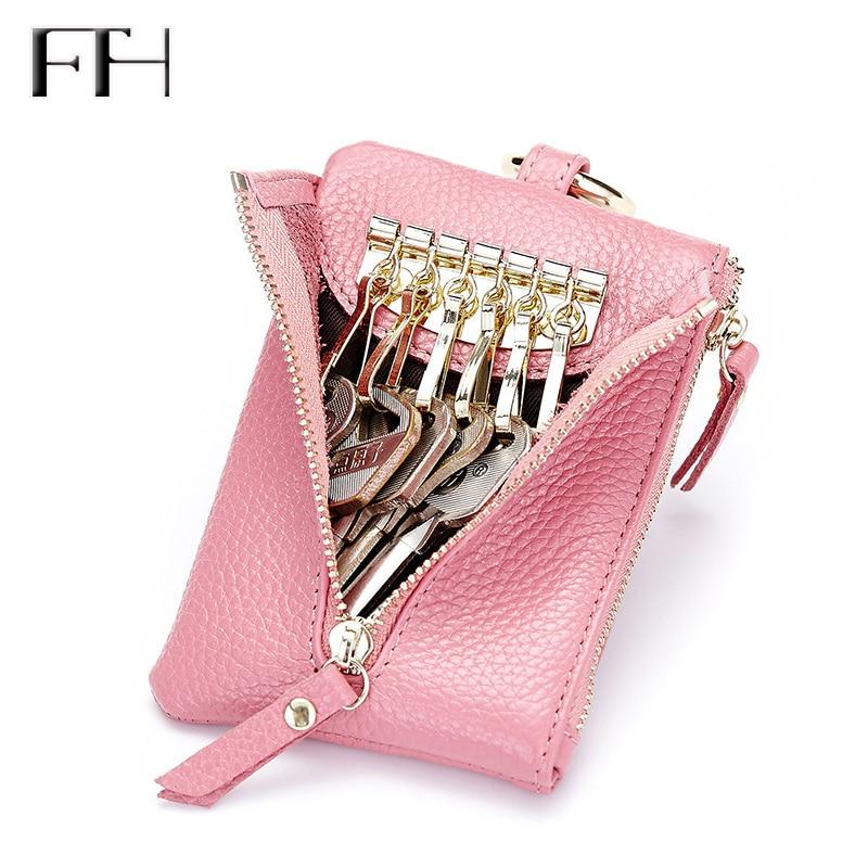 Praktiska kvinnors äkta läder dragkedja nyckel handväska mynt handväska kvinnliga hushållersnycklar hållare dam multifunktion nyckel väska påse