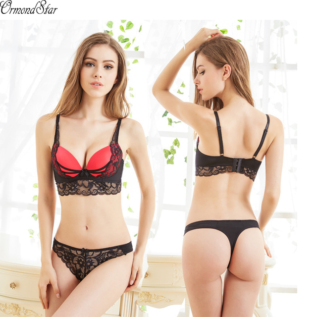 2991072f26d8a Brand Sexy Lace Bra Set Women Fashion Spaghetti Strap Underwire Lace  Patchwork Bra Underwear Set Bow