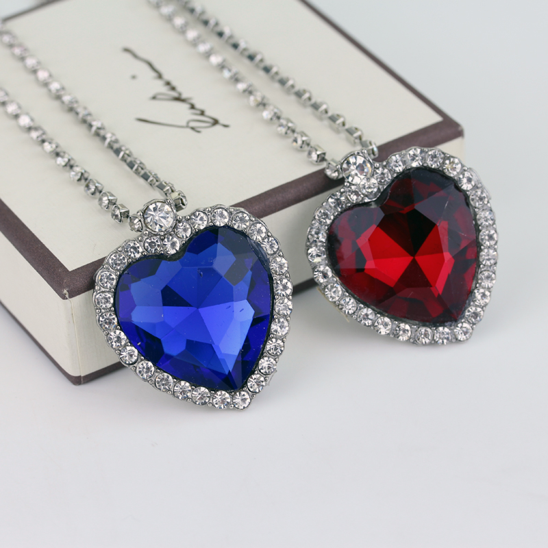RJ 20Pcs/Lot Fashion Film TITANIC Necklace Heart Of the Sea Necklaces With Blue & Red Crystal Chain For Best Gril Women Gift